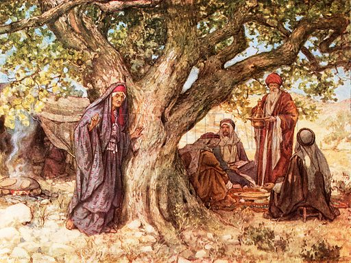 Sarai overhearing the renewal of the promise. William Hole, Old Testament History (Eyre and Spottiswoode, c 1925 ).