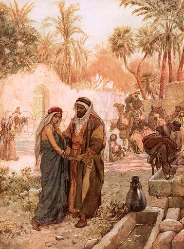 Eliezer and Rebekah. William Hole, Old Testament History (Eyre and Spottiswoode, c 1925 ).