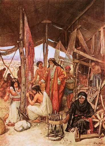 Moses inspecting the weaving and embroidering of the hangings of the Tebernacle. William Hole, Old Testament History (Eyre and Spottiswoode, c 1925 ).