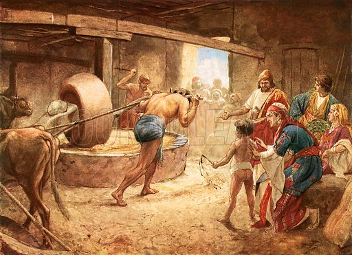 Samson grinding in prison at Gaza. William Hole, Old Testament History (Eyre and Spottiswoode, c 1925 ).