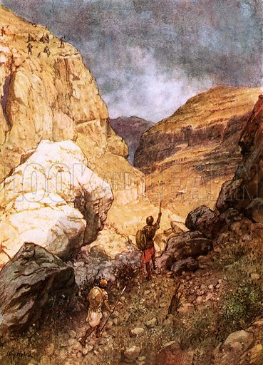 Jonathan defying the outposts of the Philistines. William Hole, Old Testament History (Eyre and Spottiswoode, c 1925 ).