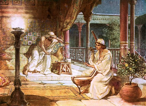 David playing on the harp before Saul. William Hole, Old Testament History (Eyre and Spottiswoode, c 1925 ).