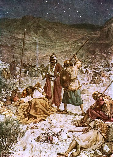 David spares the life of Saul. William Hole, Old Testament History (Eyre and Spottiswoode, c 1925 ).