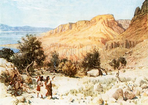 David's camp at Engedi. William Hole, Old Testament History (Eyre and Spottiswoode, c 1925 ).