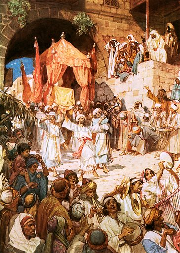 David bringing ark into Jerusalem. William Hole, Old Testament History (Eyre and Spottiswoode, c 1925 ).