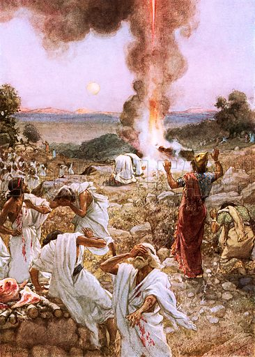 Elijah's sacrifice at mount Carmel. William Hole, Old Testament History (Eyre and Spottiswoode, c 1925 ).