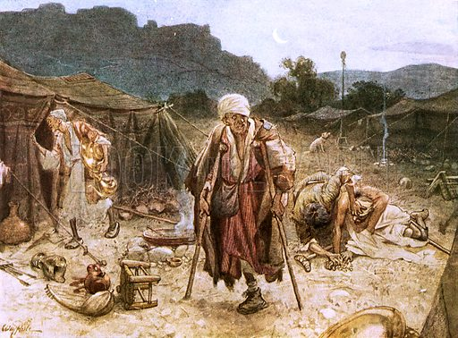 The four lepers looting the camp of the Syrians. William Hole, Old Testament History (Eyre and Spottiswoode, c 1925 ).