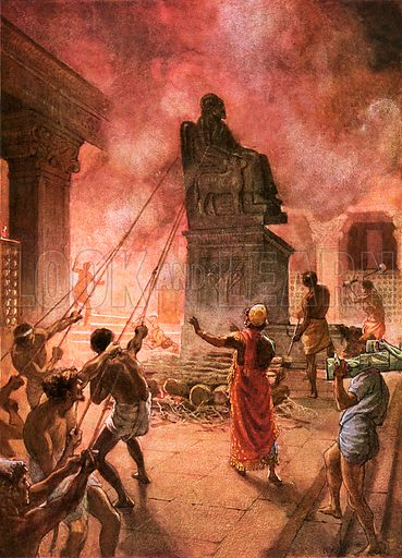 King Josiah cleansing the land of idols. William Hole, Old Testament History (Eyre and Spottiswoode, c 1925 ).