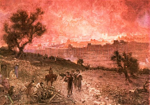 The destruction of Jerusalem by nebuzar-adan. William Hole, Old Testament History (Eyre and Spottiswoode, c 1925 ).