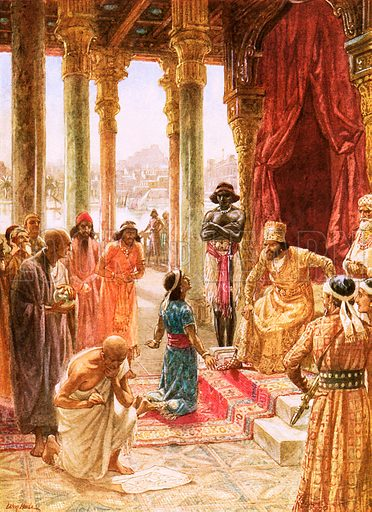 Daniel interprets the dream of Nebuchadnezzar. William Hole, Old Testament History (Eyre and Spottiswoode, c 1925).