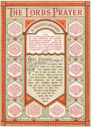 The Lord's Prayer in 14 languages.  National Comprehensive Family Bible by John Eadie (c 1870).