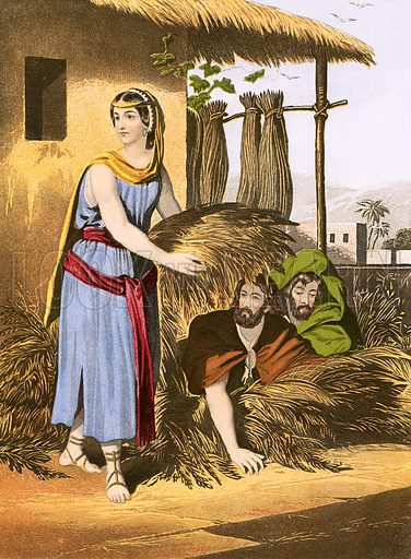 Rahab and the spies. Self Interpreting Family Bible by John Brown (c 1880).
