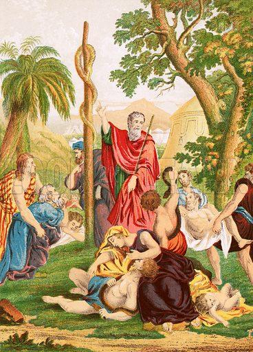 The brazen serpent. Self Interpreting Family Bible by John Brown (c 1880).