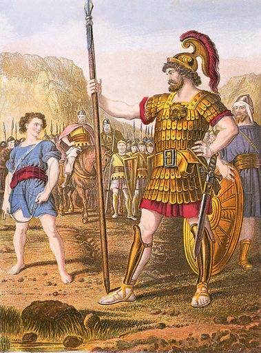 David and Goliath. Self Interpreting Family Bible by John Brown (c 1880).