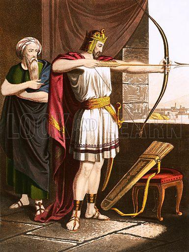 Joash shooting arrows at the command of Elisha. Self Interpreting Family Bible by John Brown (c 1880).