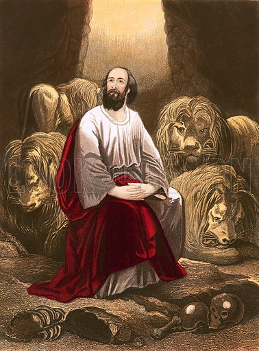 Daniel in the den of lions. National Comprehensive Family Bible by John Eadie (c 1870).