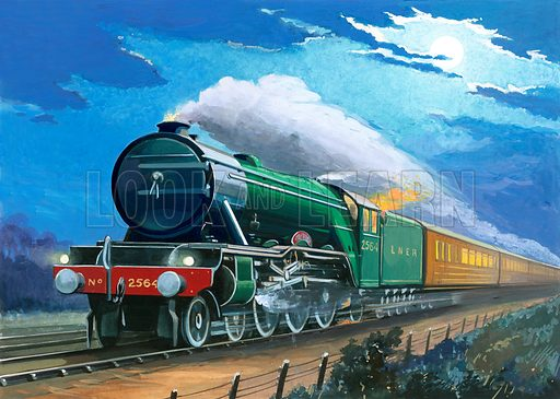 Train.  Original artwork for early 20th century book illustration.