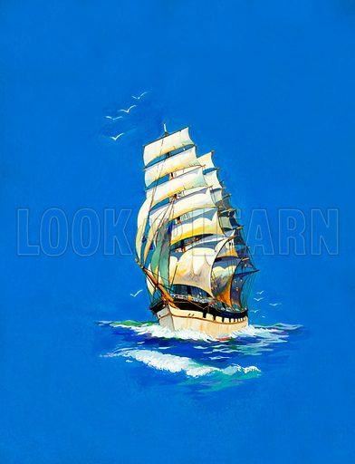 Sailing ship.  Original artwork for early 20th century book illustration.