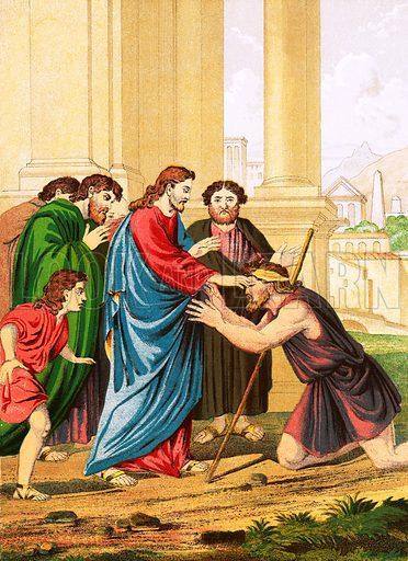 Christ healing the blind. Self Interpreting Family Bible by John Brown (c 1880).