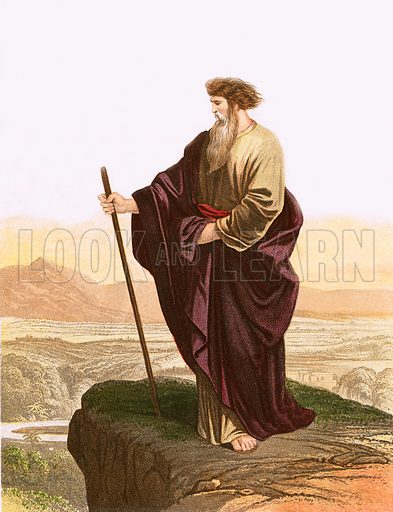 Moses viewing the promised land. Y Bibl (Welsh Bible) (c 1880).