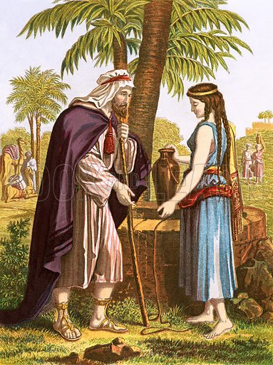 Abraham's servant and Rebekah. Y Bibl (Welsh Bible) (c 1880).