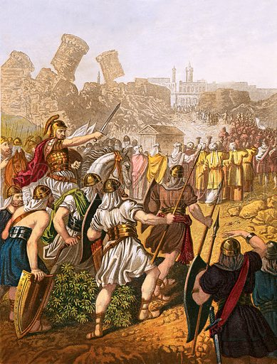 The Israelites encompassing the walls of Jericho. Y Bibl (Welsh Bible) (c 1880).