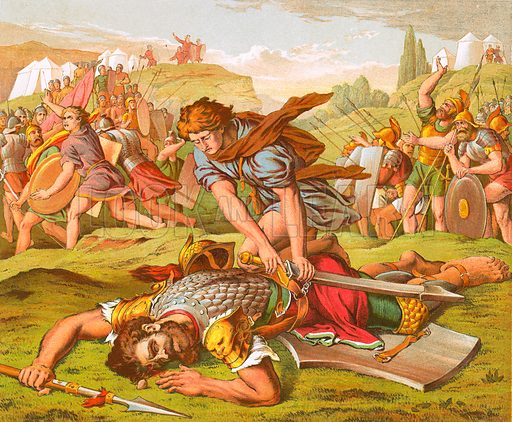 David slaying the giant Goliath. Bible, Henry and Scott (c 1880).