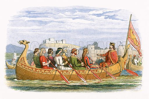 The barge of Edgar manned by eight kings on the Dee.  James E Doyle, A Chronicle of England BC 55 to AD 1485 (London, 1864).