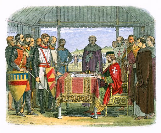King John signs the Great Charter.  James E Doyle, A Chronicle of England BC 55 to AD 1485 (London, 1864).