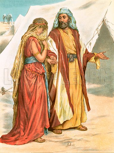 Rebekah. The Illustrated National Family Bible, John Harrop (c 1870).