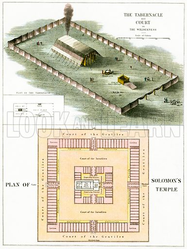 The Tabernacle and plan of Solomon's temple. The Illustrated National Family Bible, John Harrop (c 1870).
