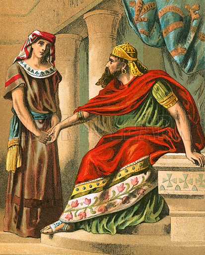 Nebuchadnezzar commanding Daniel to interpret the dream. The Bible Picture Book (Thomas Nelson and Sons, c 1870).