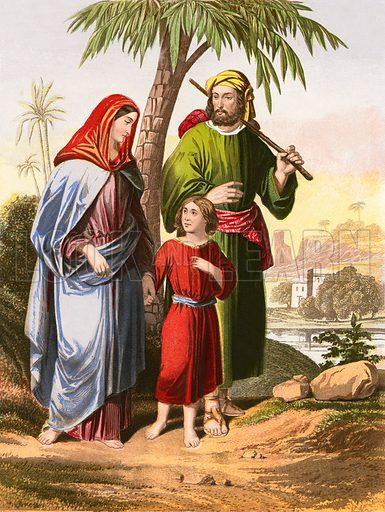 Jesus returning with his parents to Nazareth. Bible (McFarlane & Erskine, c 1870). Illustrations by Kronheim.