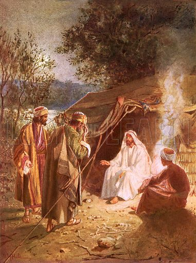 Jesus's lodging on the banks of the Jordan, where John and Andrew follow him, the latter bringing also his brother Simon. The Life of Jesus of Nazareth by William Hole (Eyre and Spottiswoode, c 1905).