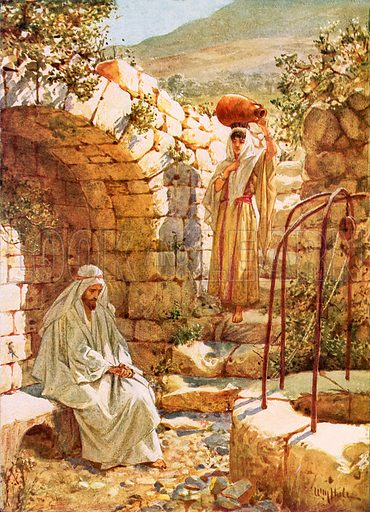 Jesus resting by Jacob's Well. The Life of Jesus of Nazareth by William Hole (Eyre and Spottiswoode, c 1905).
