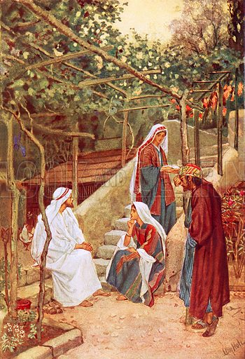 Jesus resting at Bethany at the house of his friends - Look