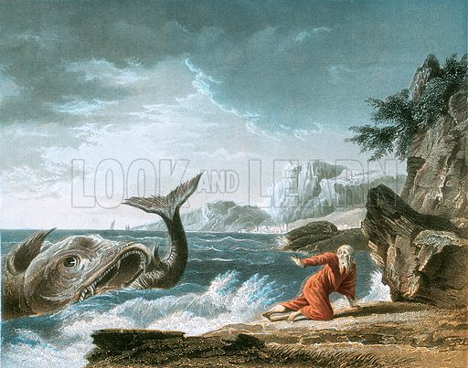 Jonah having been vomited out by the whale onto dry land.  Bible (James Hagger, c 1860).  Printed by A H Payne.