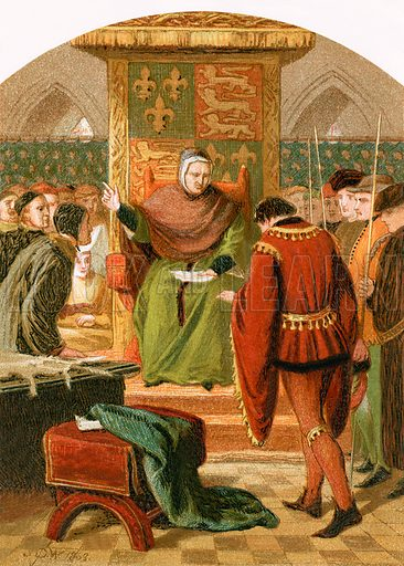 Prince Henry before Judge Gascoigne.  The Nobility of Life edited by L Valentine (Frederick Warne, c 1870).