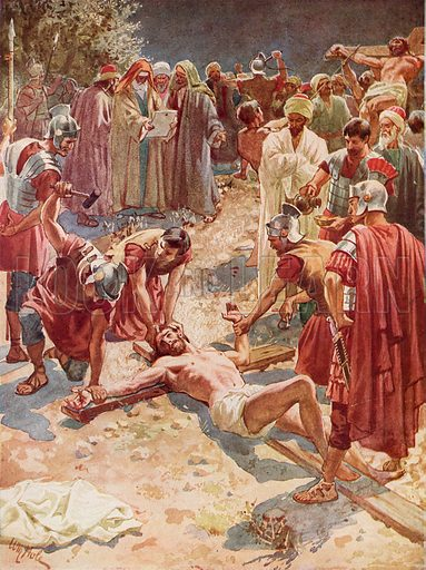Jesus being crucified.  The Life of Jesus of Nazareth by William Hole (Eyre and Spottiswoode, c 1905).