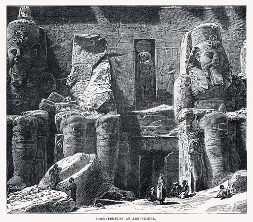 Rock temples at Abousimbel. Illustrations from Cassell