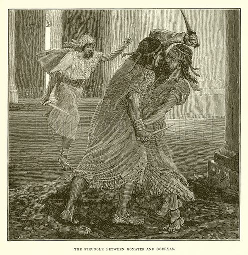 The struggle between Gomates and Gobryas. Illustration from Cassell's Illustrated Universal History by Edward Ollier (1890).