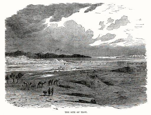 The site of Troy. Illustration from Cassell's Illustrated Universal History by Edward Ollier (1890).