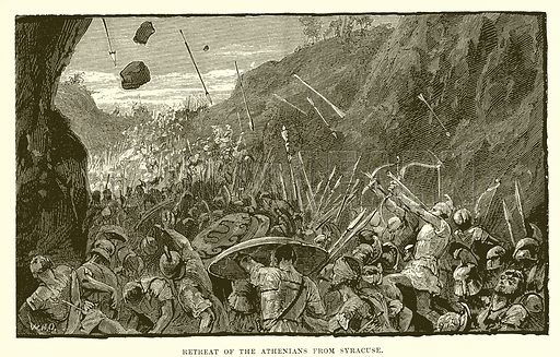 Retreat of the Athenians from Syracuse. Illustration from Cassell's Illustrated Universal History by Edward Ollier (1890).