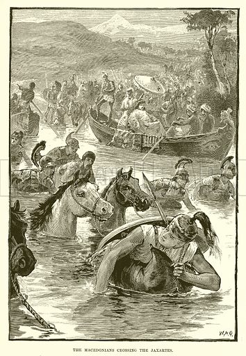 The Macedonians crossing the Jaxartes. Illustration from Cassell's Illustrated Universal History by Edward Ollier (1890).