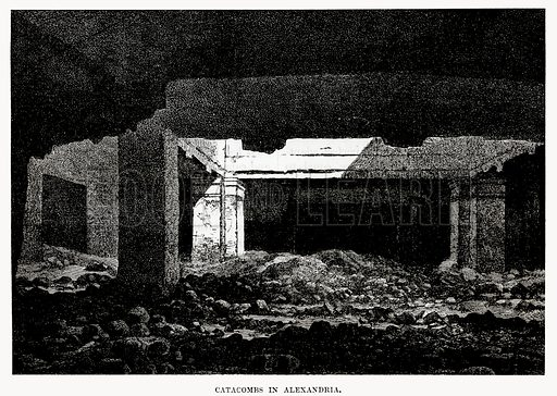 Catacombs in Alexandria. Illustration from Cassell's Illustrated Universal History by Edward Ollier (1890).