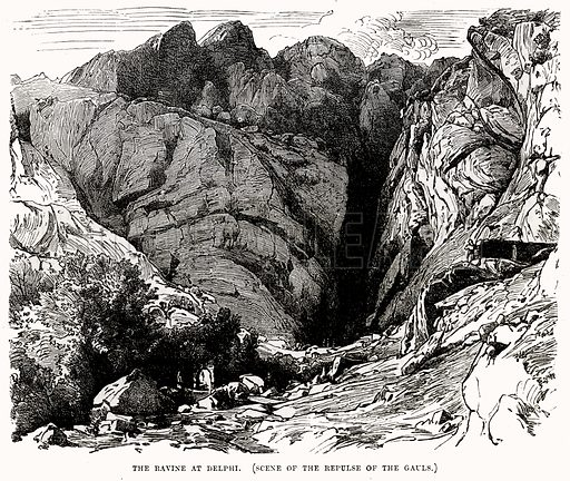 The Ravine at Delphi. Illustration from Cassell's Illustrated Universal History by Edward Ollier (1890).