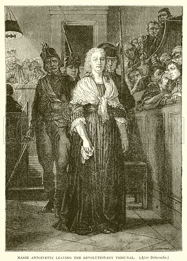 Marie Antoinette leaving the revolutionary tribunal. Illustration from Cassell's Illustrated Universal History by Edward Ollier (1890).