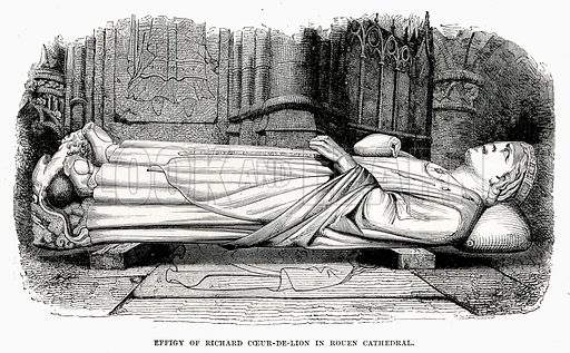 Effigy of Richard Coeur-De-Lion in Rouen Cathedral. Illustration from Cassell's Illustrated Universal History by Edward Ollier (1890).