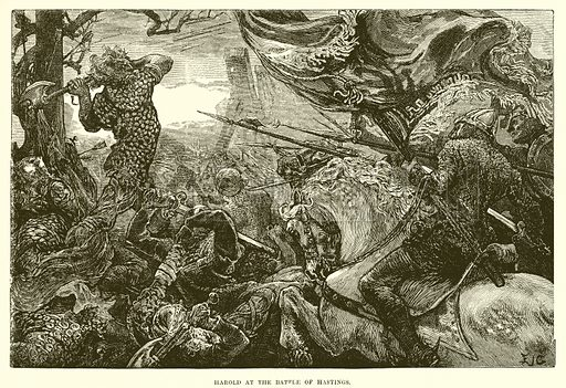 Harold at the battle of Hastings. Illustration from Cassell's Illustrated Universal History by Edward Ollier (1890).