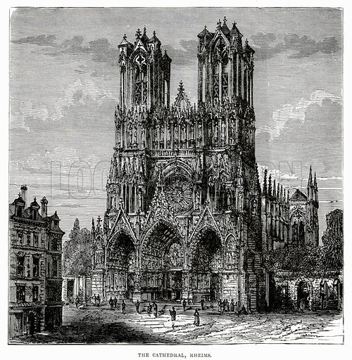 The Cathedral, Rheims. Illustration from Cassell